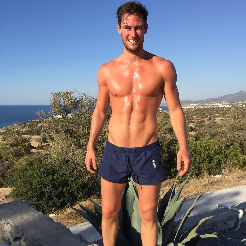 My Fiance James Farrar, didn't even bring trainers - he worked out barefoot doing press-ups, mountainclimbers, and swimming. Here he is, post workout in Cyprus