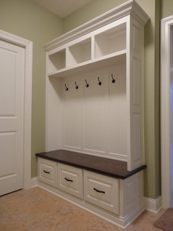 mudroom with beadboard