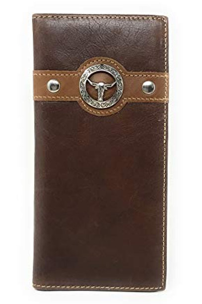 Texas West Men's Genuine Leather Longhorn Bifold Wallet in 3 Colors