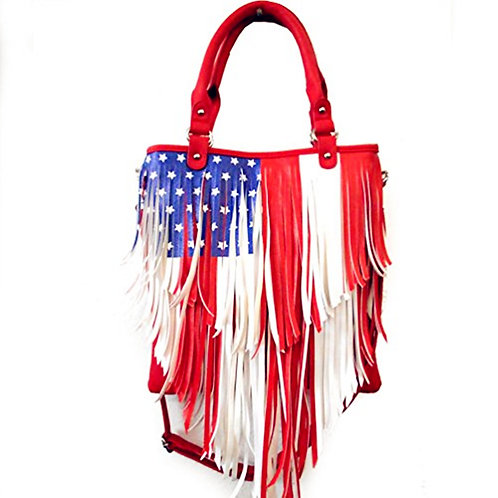National Flag Womens Leather Fringe Tote Handbag with Extra Strap in 2 Colors