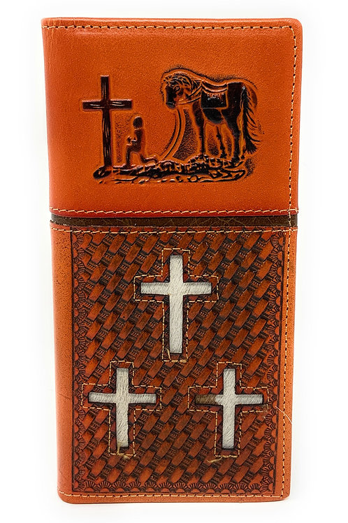 Western Mens Embossed Basketweave Cowhide Cross Praying Cowboy Long Wallet