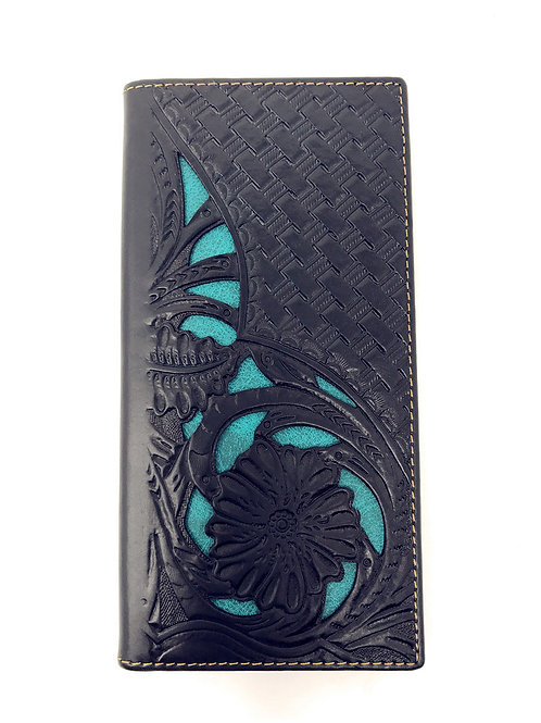 Western Genuine Leather Floral Tooled Laser Cut Mens Long Bifold Wallet