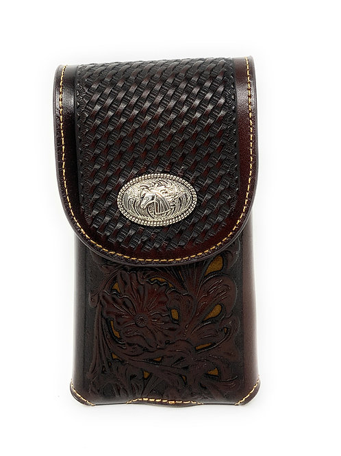WesternTooled Floral Leather Horse Concho Belt Loop Cell Phone Holster