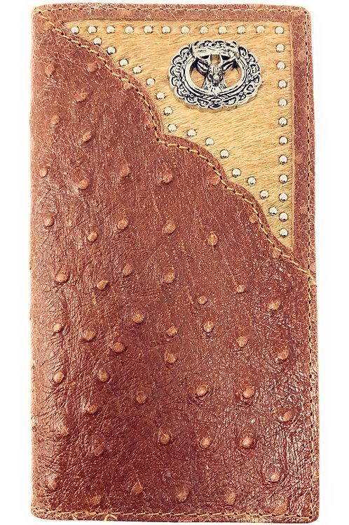 Western Men Ostrich Genuine Leather 3D Mule Deer Long Cowhide Stud Bifold Wallet