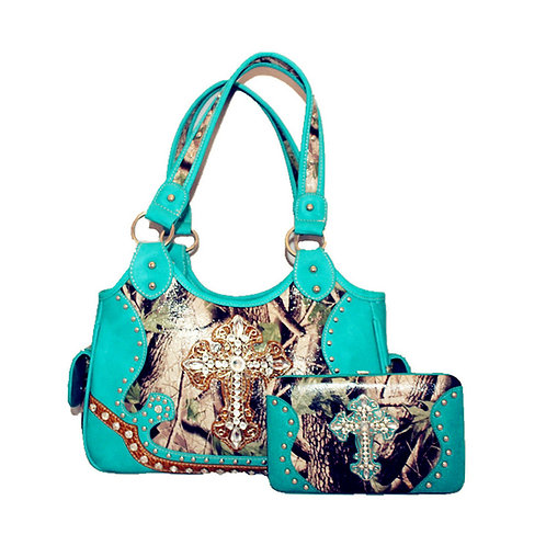 Western Camouflage Cross Leather Womens Handbag Purse With Matching Wallet