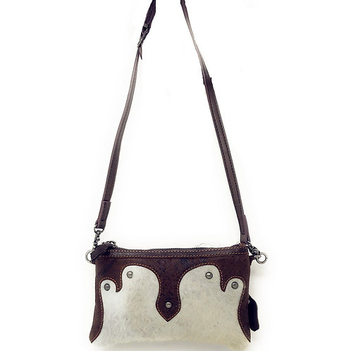 Western Womens Genuine Leather Cowhide Fur Basketweave Crossbody Bag