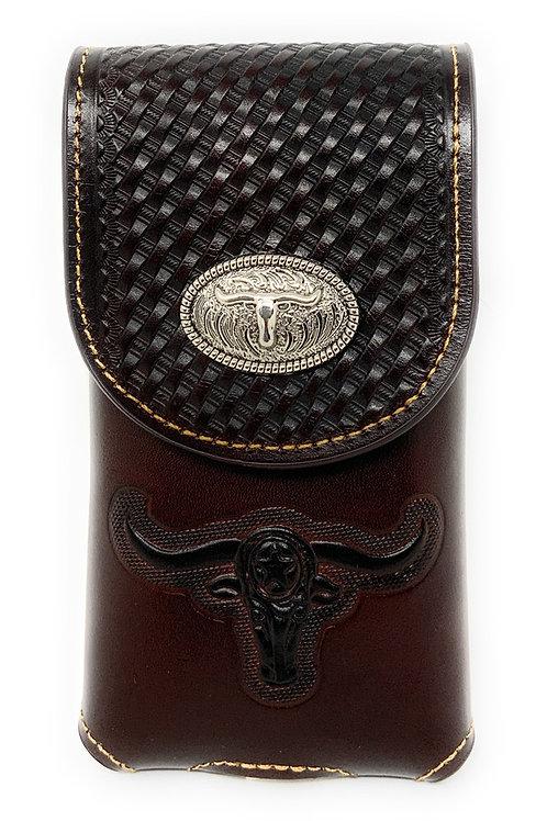 Basketweave Leather Multi Emblem Concho Belt Loop Cellphone Holster Case