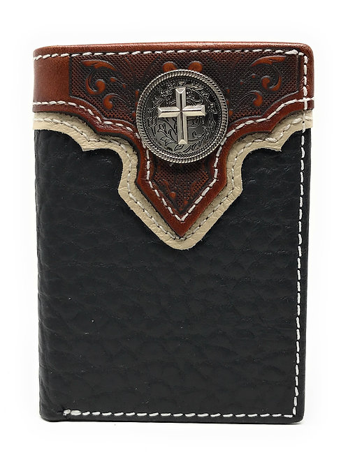 Western Tooled Genuine Leather Cross Men's Short Trifold Wallet in 2 colors