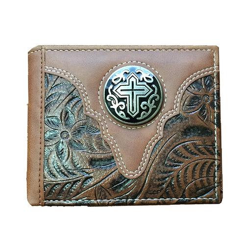 Premium Western Style Soft PU Leather Bifold Wallet in Multi- Emblem
