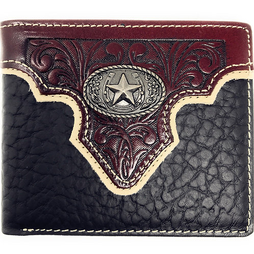 Western Genuine Leather Floral Tooled Star Concho Mens Short Bifold Wallet