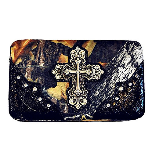 Premium Western Camouflage Material Rhinestone Cross Wallet With Extra Checkbook