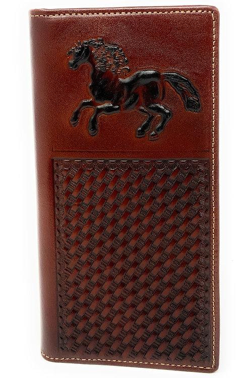 Premium Genuine Western Mens Embossed Horse Basketweave Long Wallet in 3 Colors