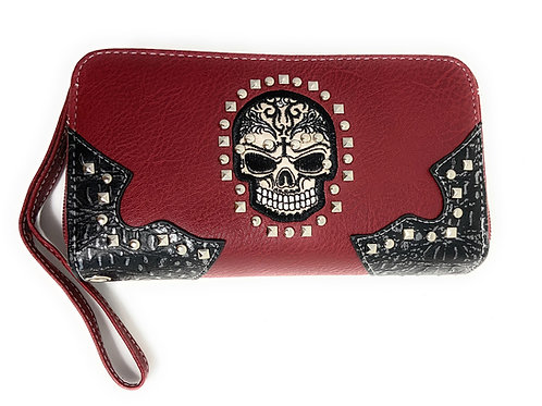 Texas West Women's Embroidered Flora Sugar Skull Purse Clutch Wallet