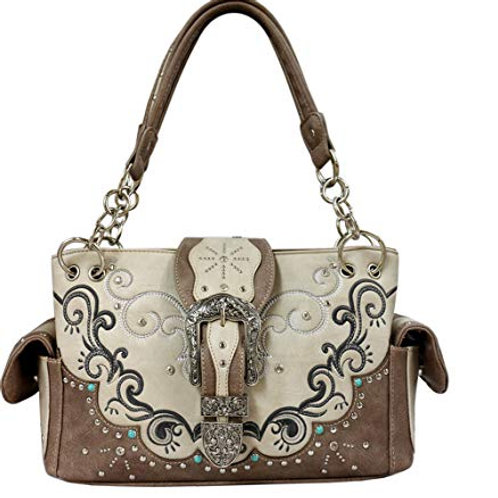Western Classic Crown Belt Buckle Concealed Carry Handbag in 6 Colors GP939W177