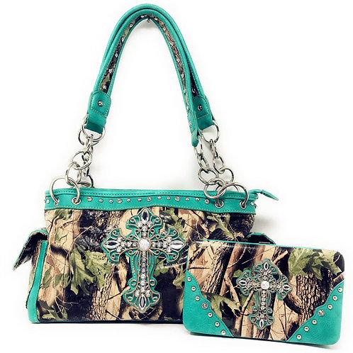 Premium Rhinestone Camouflage Cross Leather Womens Handbag Purse Matching Wallet