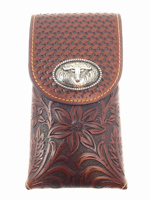 Cowboy Medium Size Genuine Leather Longhorn Galaxy Iphone Holster Cellphone Case