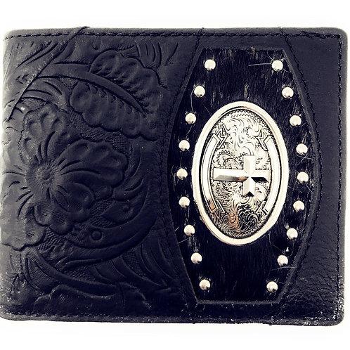Black Premium Cow Fur Genuine Leather Men's Short Bifold Wallets in Multi Emblem