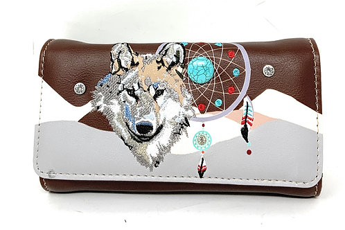 Western Wolf Dream Catcher Embroidery Feather Conceal Carry Women Wallet