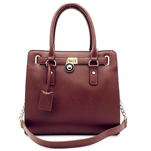 Designer Inspired Fashion Satchel TopHandle Handbag With Padlock In Multi Color