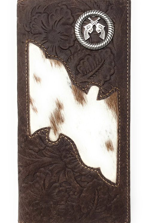 Premium Men's Cow Fur Cowhide Pistol Genuine Leather Bifold Wallet in 2 colors