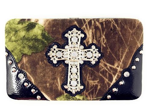Rhinestone Cross Western Camouflage Womens Wallet In Multi Color