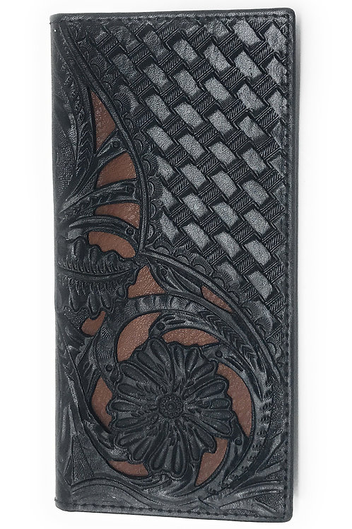 Premium Genuine Leather Floral Tooled Laser Cut Mens Long Bifold Wallet