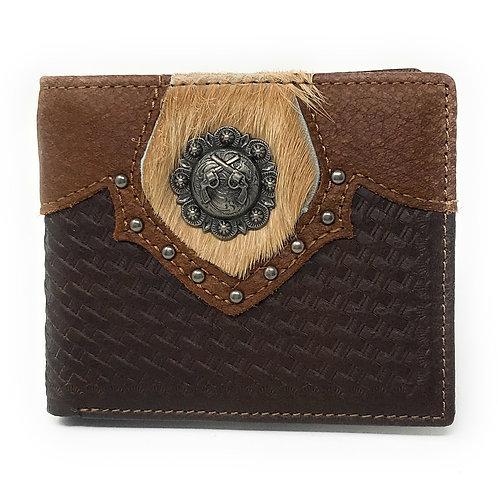 Western Genuine Leather Cowhide Pistol Basketweave Mens Bifold Short Wallet