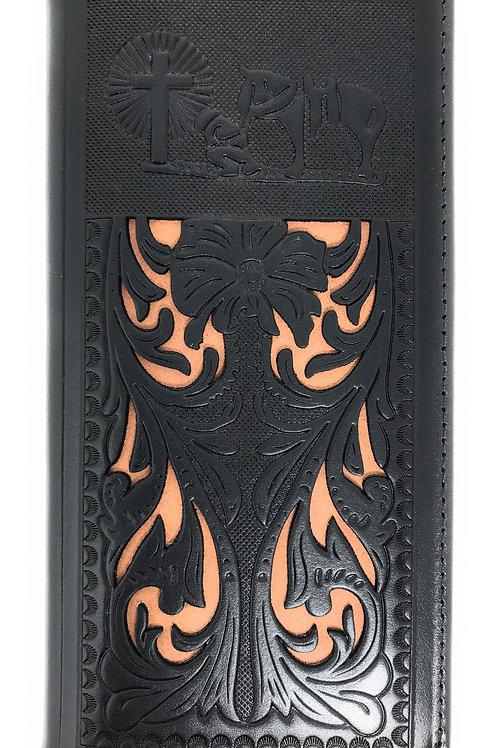 Western Men's Laser Cut Genuine Leather Longhorn Long Bifold Wallet