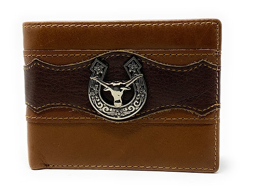 Texas West Tooled Longhorn Genuine Glossy Leather Men's Wallet in 3 Colors