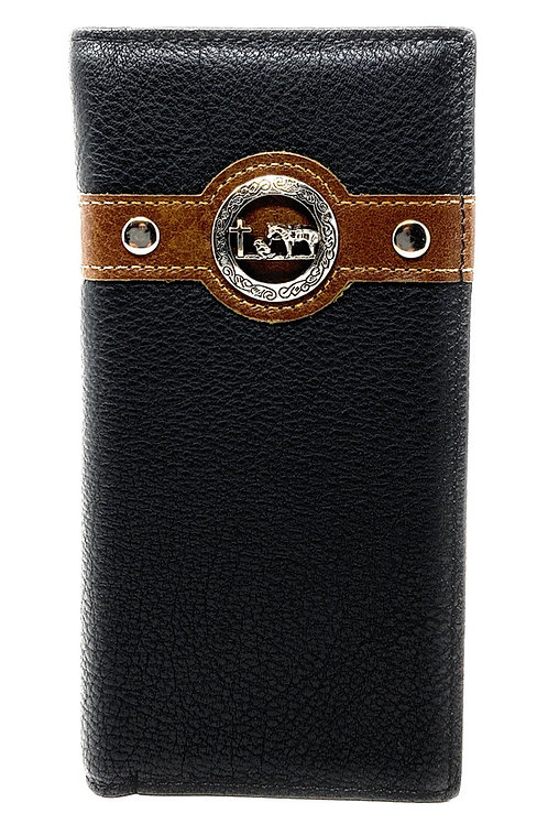Western Men's Genuine Leather Praying Cowboy Bifold Long Wallet in 3 Colors