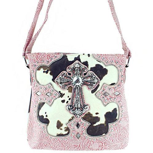 Premium Rhinestone Cross Cow Skin PU Leather Womens Messenger Bag