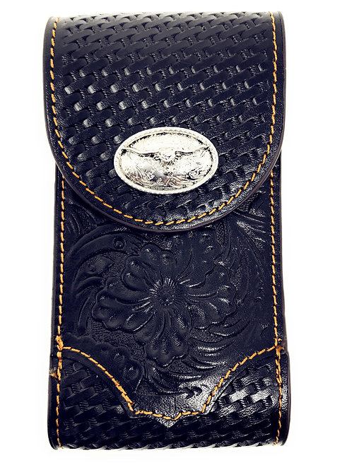 Cowboy Small Size Genuine Leather Longhhorn Galaxy Iphone Holster Cellphone Case