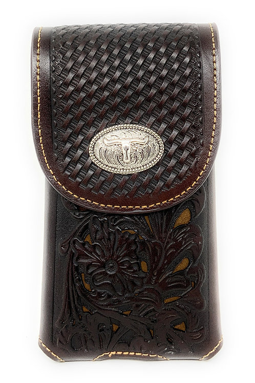 WesternTooled Floral Leather Longhorn Concho Belt Loop Cell Phone Holster