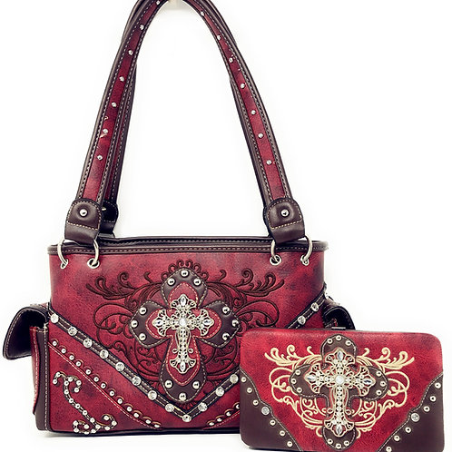 Premium Rhinestone Cross Western Embroidered Concealed Carry Handbag/Wallet Set
