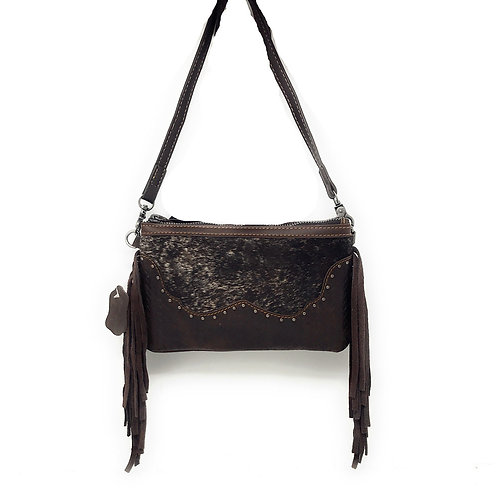 Western Genuine Leather Cowhide Fur Fringe Basketweave Womens Crossbody Bag