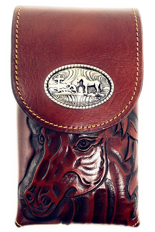 Genuine Leather Medium Size Praying Cowboy Galaxy iPhone Holster Cellphone Case