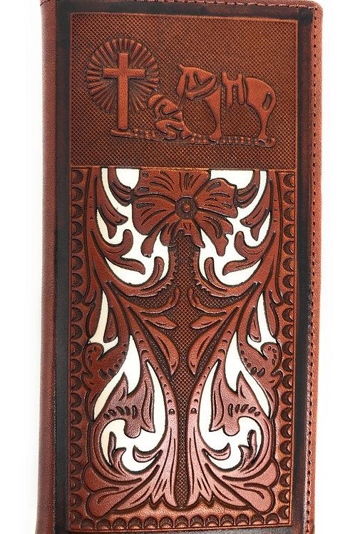 Western Men's Laser Cut Genuine Leather Praying Cowboy Long Bifold Wallet