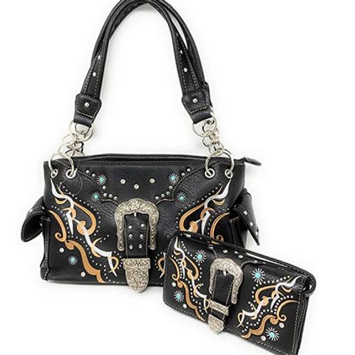 Women's Tooled Leather/Laser Cut Purse Buckle Concealed Carry Handbag Set