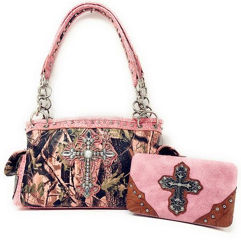 Camo Mossy Oak Pink Rhinestone Cross Handbag Purse With Matching Wallet