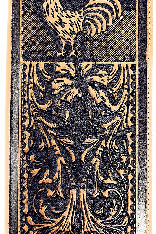 Genuine Leather Basketweave Floral Tooled Rooster Mens Long Bifold Wallet