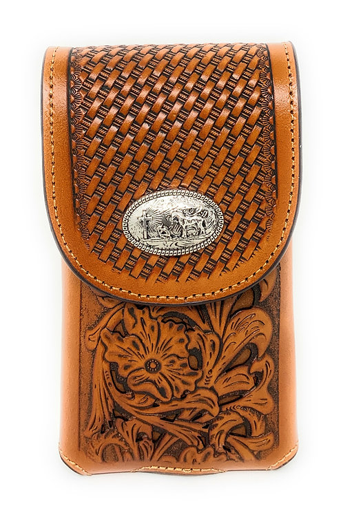 WesternTooled Floral Leather Praying Cowboy Concho Belt Loop Cell Phone Holster