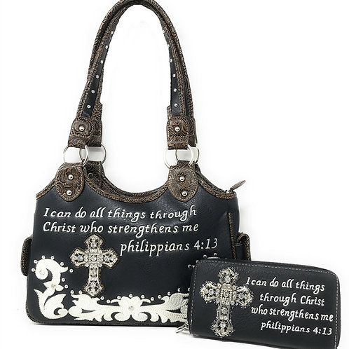 Texas West Bible Verse Concealed Carry Western Handbag / Matching Wallet One Set