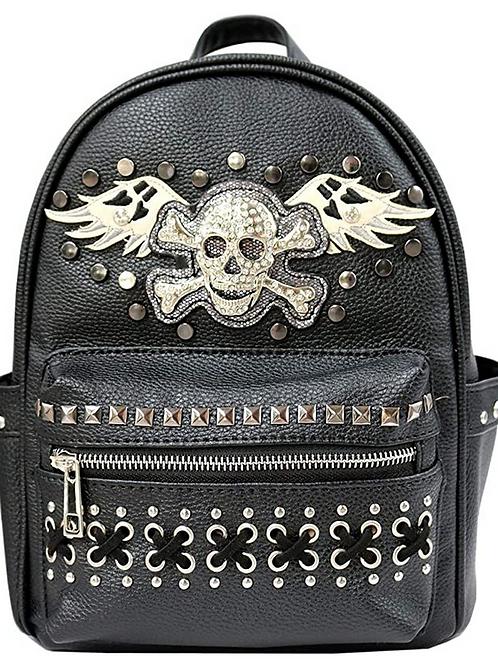Western Women's Angel Wings Sugar Skull Concealed Carry Top Handle Backpack