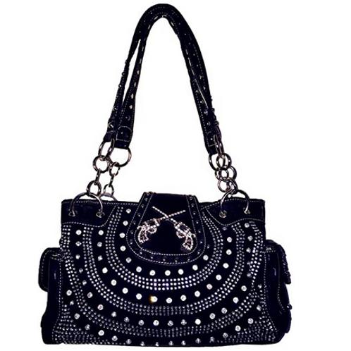Texas West Women's Premium Buckle 3D Pistols Shoulder Handbag in 6 colors