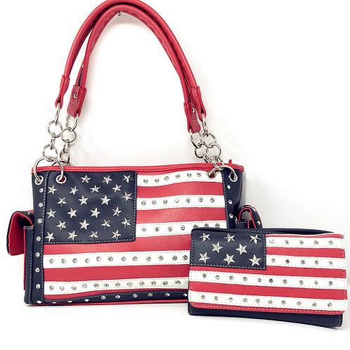 American/Texas Flag Rhinestone Women Leather Concealed Handbag Purse/Wallet Set