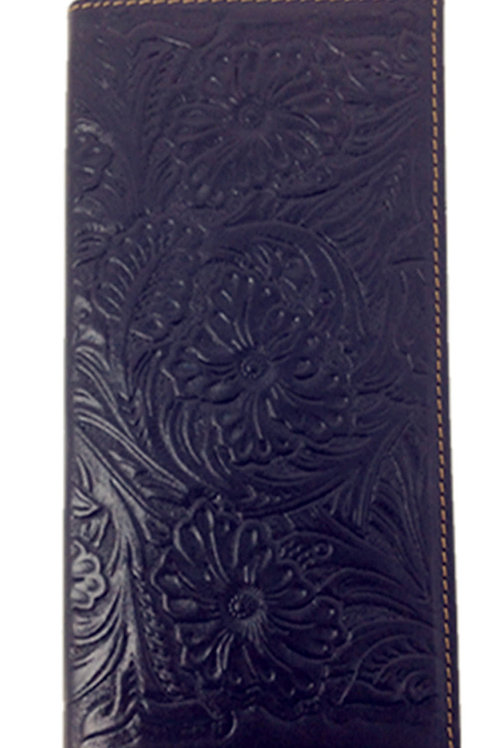 Texas West Genuine Leather Mens Western Flora Tooling Wallet