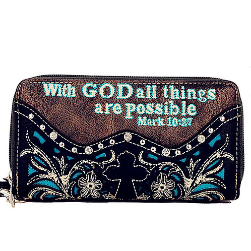 Premium Rhinestone Bible Verse Cross Women's Wallet with Extra Hand Wrist