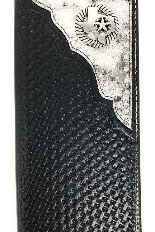 Western Genuine Leather Cowhide Cow fur Basketweave Texas State Bifold Wallet