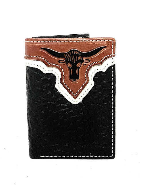 Western Tooled Genuine Leather Longhorn Men's Short Trifold Wallet in 2 Color
