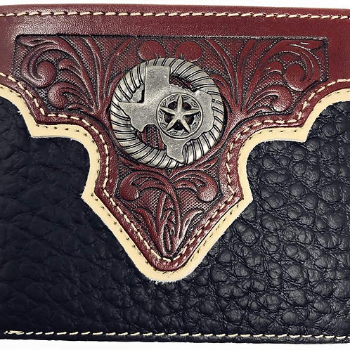 Western Genuine Leather Floral Tooled Texas State Map Concho Mens Short Bifold W